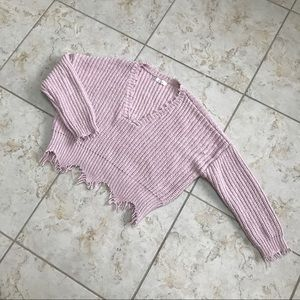 Blush Cropped VNeck Sweater (Size Small)
